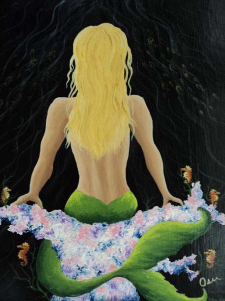 11x14 Painting - Mermaid On Coral by Osee Koger