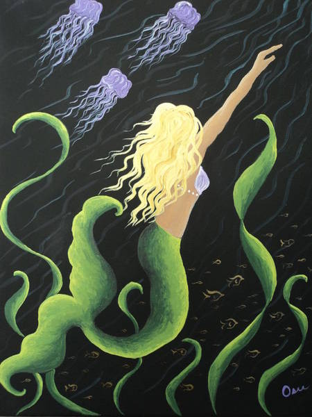 11x14 Painting - Mermaid Swimming With Jellyfish by Osee Koger