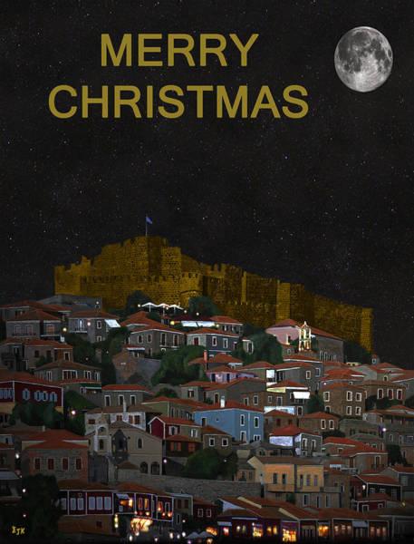 Mixed Media - Merry Christmas Molyvos by Eric Kempson