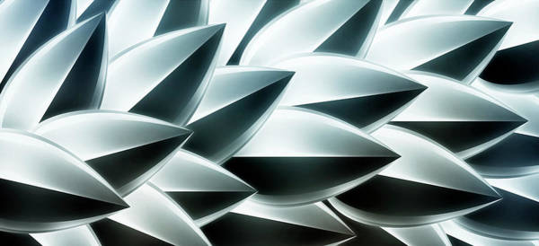 Horizontal Digital Art - Metallic Feathers, Full Frame by Ralf Hiemisch
