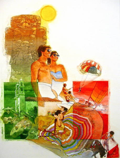 Painting - Mexico Travel Poster by Cliff Spohn