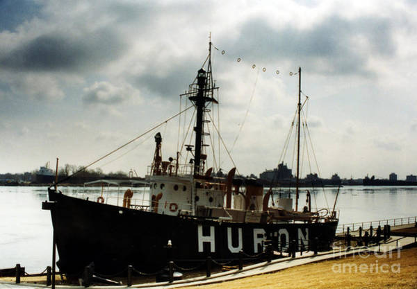 Freighter Wall Art - Photograph - Michigan Lake Huron - The Huron Lightship  by Kathy Fornal