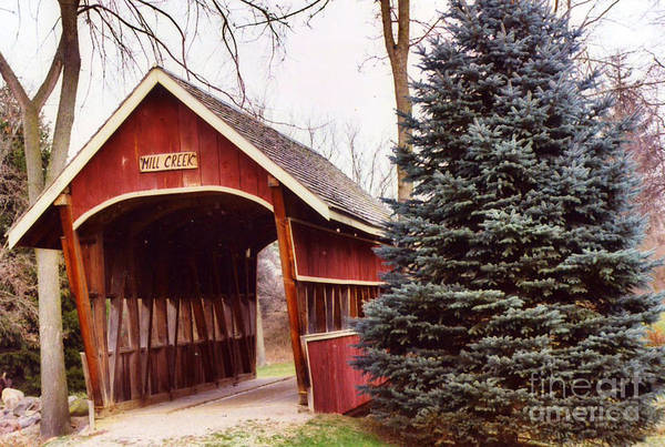 Red Covered Bridge Photograph - Michigan Red Covered Bridge Nature Landscape Winter Trees Red Bridge by Kathy Fornal