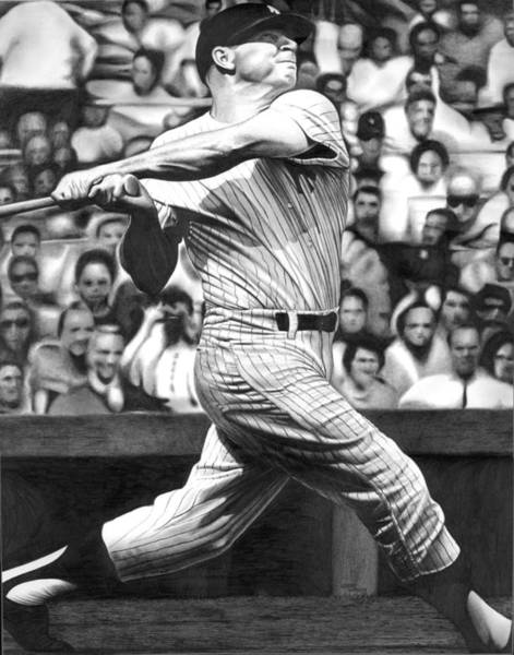 Mickey Mantle Wall Art - Drawing - Micky by Jerry Winick