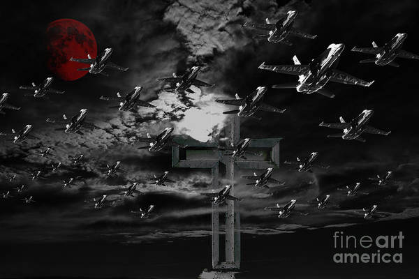 Midnight Raid Under The Red Moonlight Art Print by Wingsdomain Art and Photography