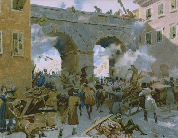 Shooting Painting - Milanese Chasing Out Austrians by Italian School