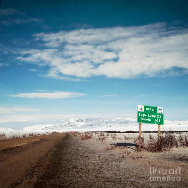 Street Sign Photograph - Milepost At The Dempster Highway by Priska Wettstein