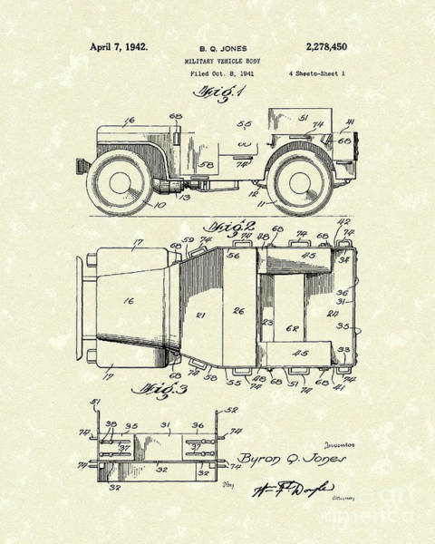 Truck Drawing - Military Vehicle 1942 Patent Art by Prior Art Design