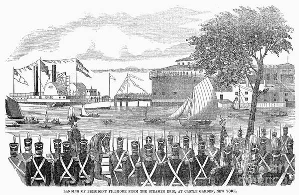 Whig Photograph - Millard Fillmore (1800-1874). 13th President Of The United States. Landing Of President Fillmore From The Steamship Erie, At Castle Garden, New York City, 1851. Contemporary American Wood Engraving by Granger