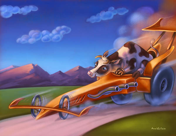 Mixed Media - Minny Moo Gone Cruising by Anne Wertheim