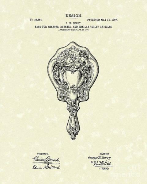 Drawing - Mirror Back Design I I I 1907 Patent Art  by Prior Art Design