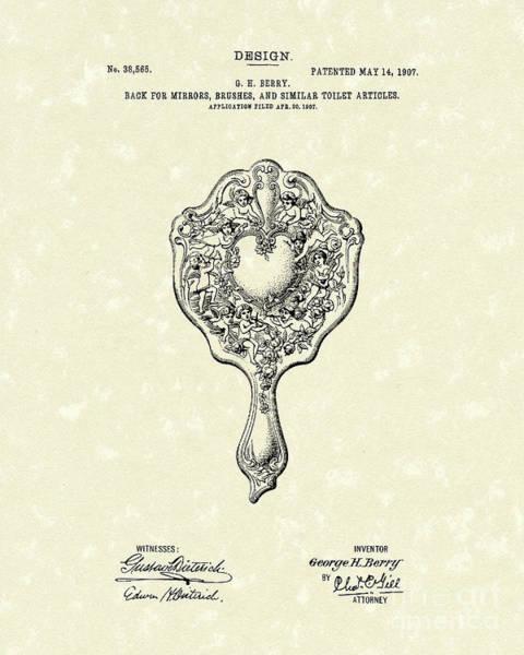 Drawing - Mirror Back Design I V 1907 Patent Art by Prior Art Design