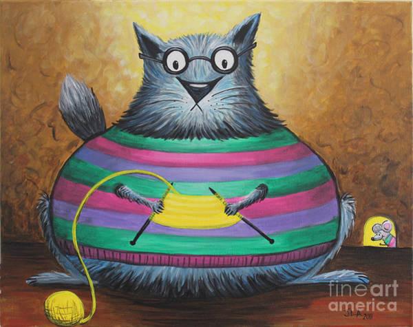 Fat Cat Painting - Miss Knitty by Jennifer Alvarez