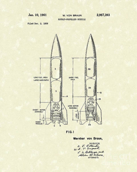 Rockets Drawing - Missile 1961 Patent Art by Prior Art Design
