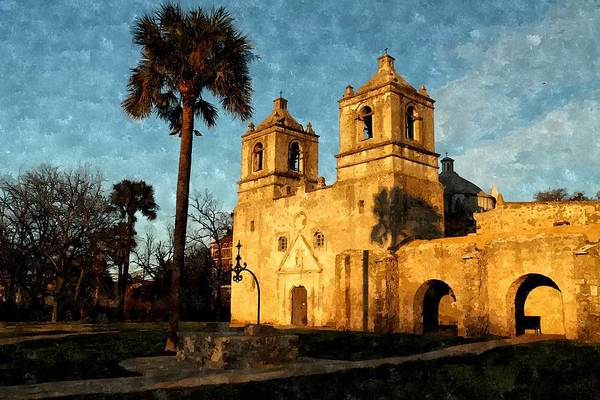Photograph - Mission Concepcion In Watercolor by Sarah Broadmeadow-Thomas