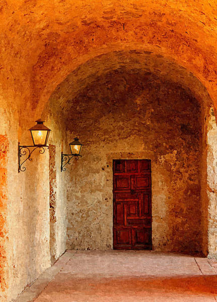 Photograph - Mission Concepcion Walkway In Digital Oil by Sarah Broadmeadow-Thomas
