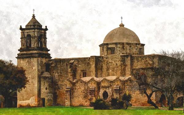 Photograph - Mission San Jose In Digital Watercolor by Sarah Broadmeadow-Thomas