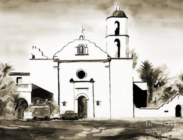 Painting - Mission San Luis Rey Bw by Kip DeVore