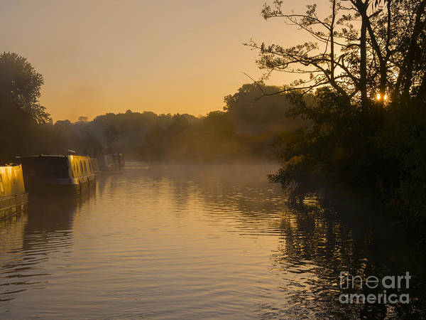 Wall Art - Photograph - Misty Morning On The Grand Union Canal by Louise Heusinkveld