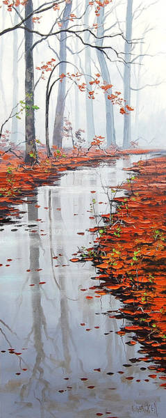 Leaf Painting - Misty Tream by Graham Gercken