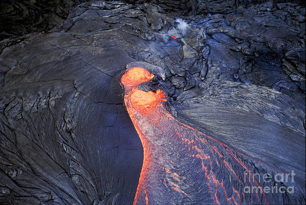 Photograph - Molten Lava Flowing by Greg Dimijian