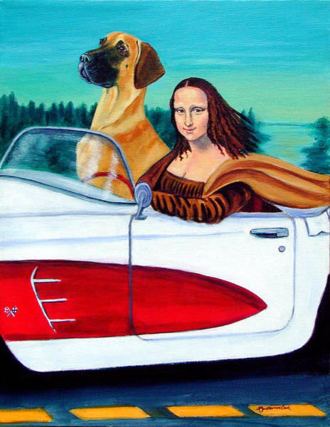 Great Dane Painting - Mona Likes To Cut Loose  by Lyn Cook