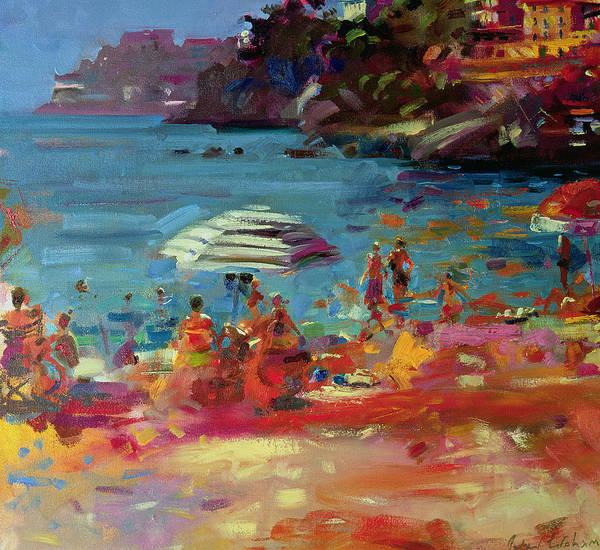 Sunbathing Painting - Monaco Coast by Peter Graham