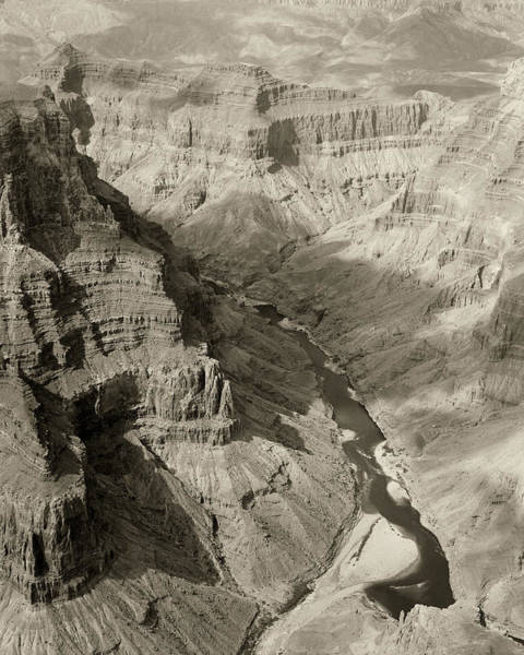 Photograph - Monochrome Colorado River And Grand Canyon by M K Miller