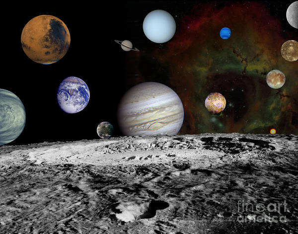 Photograph - Montage Of The Planets And Jupiters by Stocktrek Images