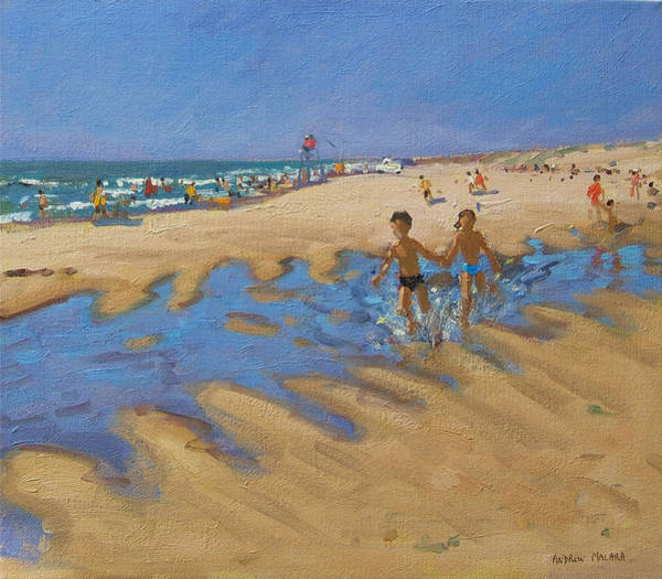 Sunbather Wall Art - Painting - Montalivet France by Andrew Macara