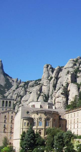 Photograph - Montserrat Monastery Vertical Mountain Top View Spain by John Shiron