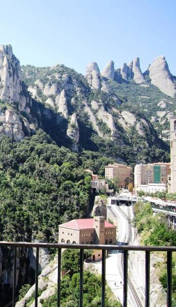 Photograph - Montserrat Mountain Top Rail Way Tram View Near Barcelona Spain by John Shiron