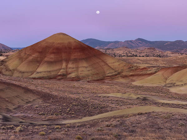 Photograph - Moon And Painted Hills by Leland D Howard