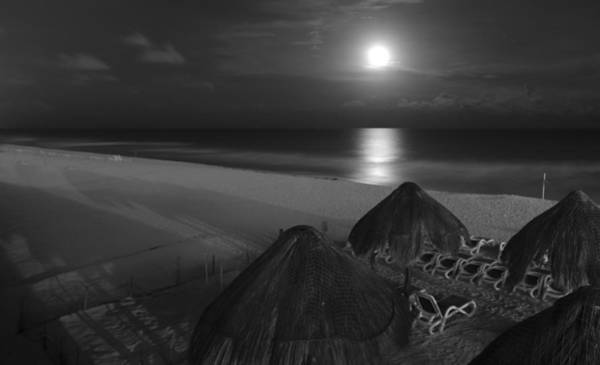 Photograph - Moon Light Over Cancun Mexico by Nick Mares
