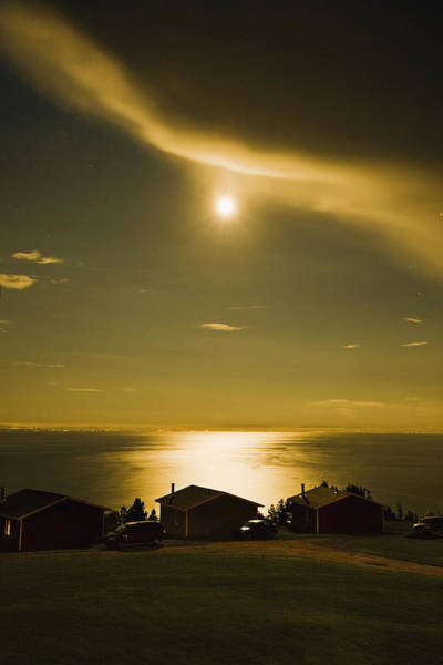Charlevoix Photograph - Moon Over Cottages And Saint Lawrence by Yves Marcoux