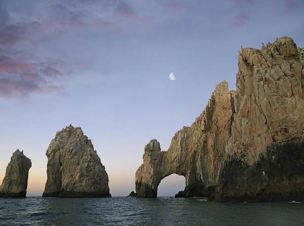 Cabo San Lucas Arch Wall Art - Photograph - Moon Over El Arco Cabo San Lucas Mexico by Tim Fitzharris