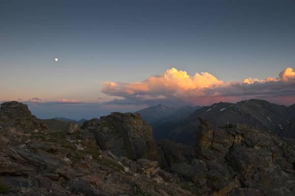 Wall Art - Photograph - Moon Storm Sunset And Longs Peak by G Wigler