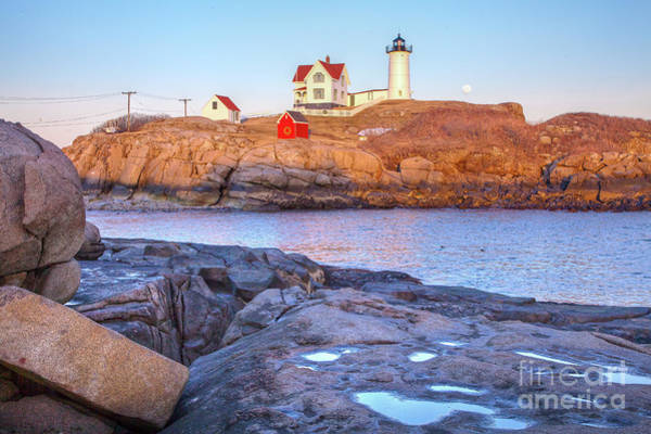 Photograph - Moonrise At Nubble Light  by Susan Cole Kelly