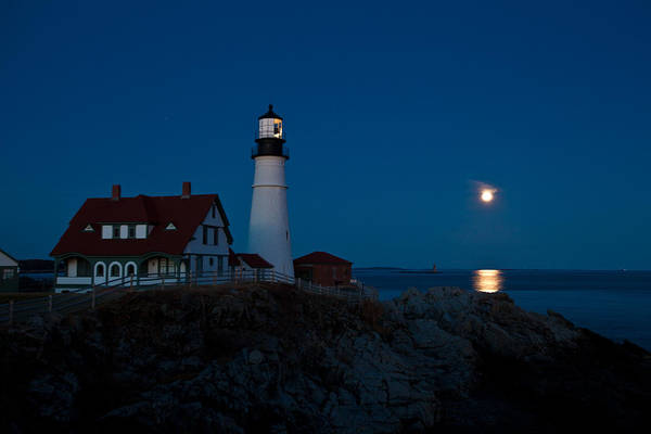 Photograph - Moonrise At Portland Head by Sara Hudock