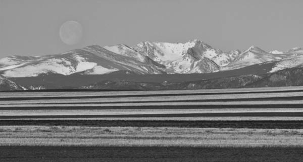 Photograph - Moons Set From The Colorado Plains Bw by James BO Insogna