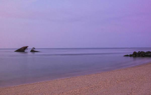 Photograph - Moonset On Sunset Beach by Tom Singleton