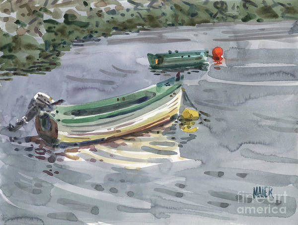 Moor Painting - Moored Boats by Donald Maier