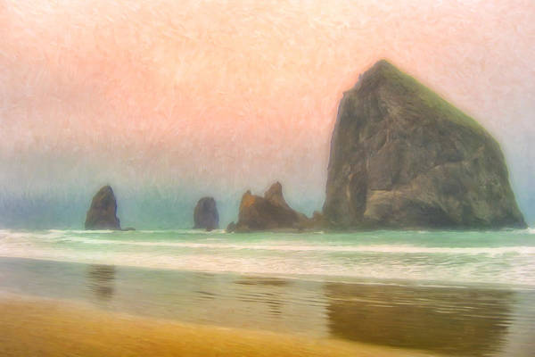 Cannon Beach Painting - Morning Mist At Haystack Rock by Dominic Piperata