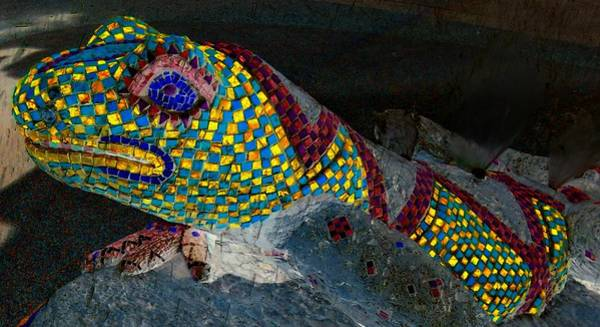 Iguana Digital Art - Mosaic Lizard by Randall Weidner