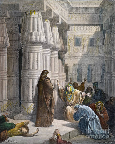 Drawing - Moses And Pharoah by Gustave Dore