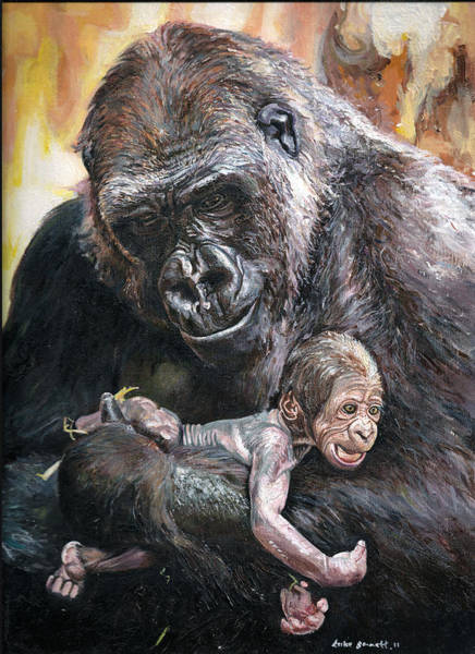 Baby Gorilla Painting - Mother And Child by Luke Bennett