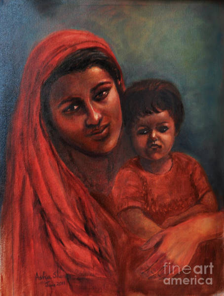 Painting - Mother And Child -tender Love by Asha Sudhaker Shenoy