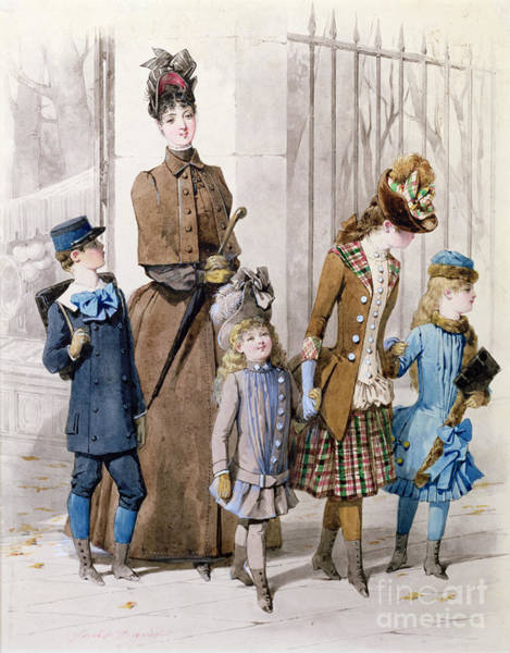 Fashion Plate Painting - Mother And Children In Walking Dress  by Jules David