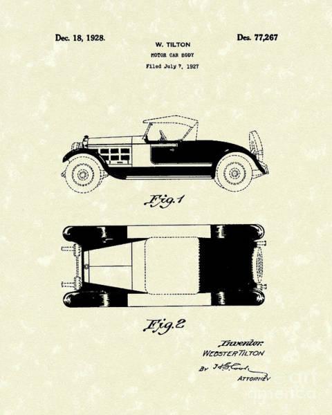 Vehicle Drawing - Motor Car Tilton 1928 Patent Art by Prior Art Design
