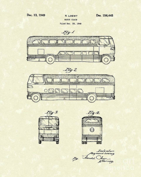 Vehicle Drawing - Motor Coach 1949 Loewy Patent Art   by Prior Art Design
